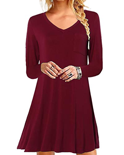YOINS Damen Kleider Sommer Tshirtkleid für Damen Kleider Knielang Tunika Winterkleid V-Ausschnitt Elegant Brautkleid,V-rotwein,XXL