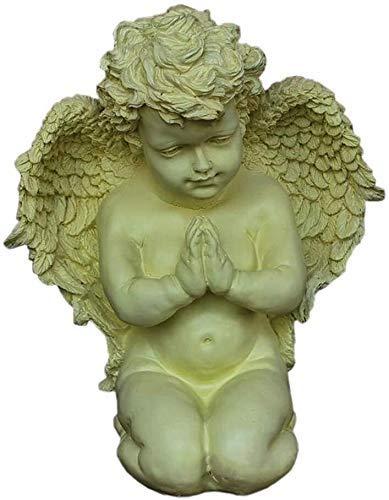 LIUSHI Adornos de jardín al Aire Libre Jardín Ángel Estatua Modelo de ángel Ángel de oración con alas Decoraciones Retro Artesanía de Resina al Aire Libre 16 * 37 * 32 cm