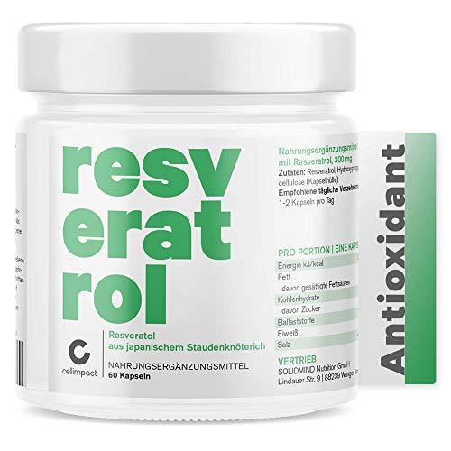 Trans Resveratrol hochdosiert von Cellimpact | 600mg pro Tag (2 Kapseln/Tag) | aus Polygonum Cuspidatum Staudenknöterich | Antioxidantien Kapseln hochdosiert