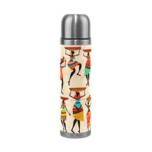 Coosun rétro Belle africaine Femme en acier inoxydable flacons Gourde thermos Tasse Anti-Fuite double vide pour bouteilles, cuir PU Voyage thermique Mug, 481,9 gram