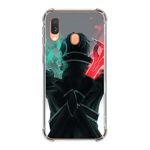 YAOYAN Soft Clear Case Coque for Samsung Galaxy A40-Sword-Art Anime Online 9 Silicone Anti-Slip Rubber Slim Soft Protective Phone Case