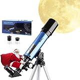 TELMU Telescopio Astronomico - 50/360mm Telescopio Astronomico, per Bambini e Principiante, con Specchio Diagonale a 45  a Correggere Immagini, Regalo per Esplorare la Luna, Blu