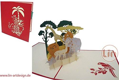 LIN POP UP 3D wenskaart verzamelkaart dierkaart vouchers Safari reis dierentuin (grote kaart 15 x 15 cm) #221#