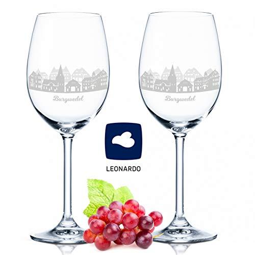 Leonardo Weingläser mit Gravur - Burgwedel Geschenk im 2er Set - Weingeschenk - Souvenir Andenken und Mitbringsel - Geburtstagsgeschenk für Sie und Ihn