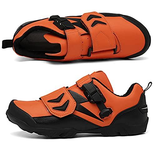 BSTL Zapatos de Ciclismo de Montaña de Carretera para Hombre y Mujer Zapatos de Bicicleta de Interior Sin Tacos Zapatos de Deporte Cómodos y Resistentes Al Desgaste,Orange-46