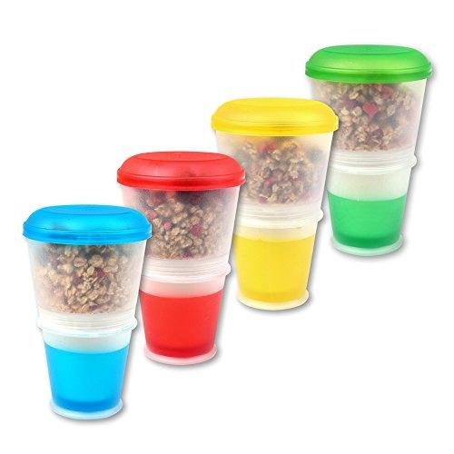 Schramm® 4-Pack to go Taza de Yogur Taza de Muesli to Go con Compartimiento de enfriamiento