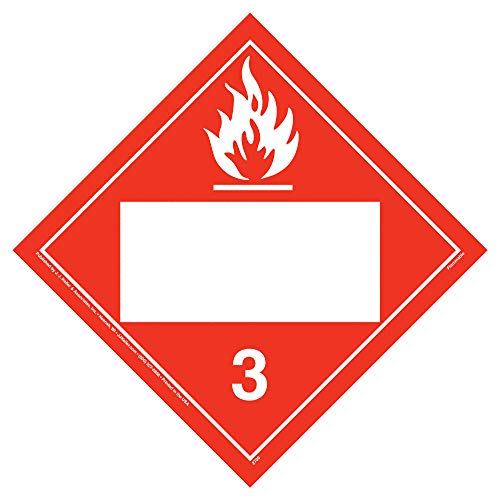 Class 3 Flammable Liquid Placard, Blank 25-pk. - 10.75' x 10.75' Polycoated Tagboard for Temporary Applications - J. J. Keller & Associates - Complies with DOT Hazmat Placard Requirements