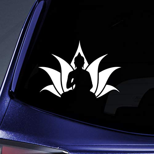 Bargain Max Decals Buddha Lotus Flower Sticker Decal Notebook Car Laptop 5.5' (White)