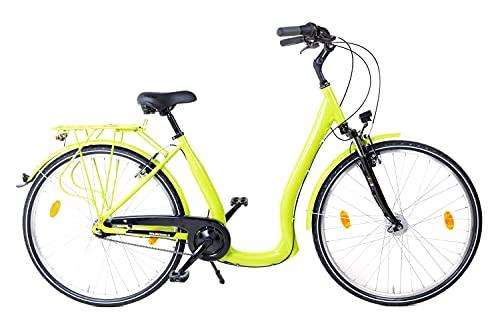 28 Zoll Alu Fahrrad City Bike Damen 7 Gang Nabenschaltung Tiefeinsteiger Hellgrün