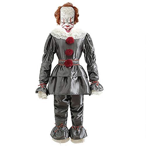 LISI Disfraz de Payaso IT 2 Pennywise Clown Terror Traje Contiene Camiseta y Pantaln y Mascarilla y Zapatos para Halloween Adultos Hombres,A,XXL