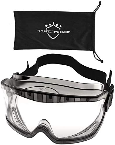 Protective Equip Safety Goggles Over Glasses - Lab Safety Goggles For Eye Protection - Scratch Resistant Clear Safety Goggles Anti Fog-for Men & Women(large)