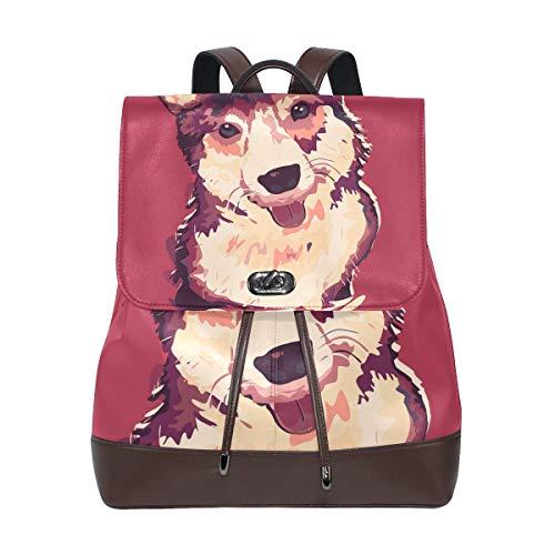 COOSUN Women PU Leather Corgi Dog Painting Backpack Purse Travel School Shoulder Bag Casual Daypack