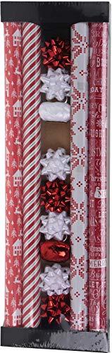 made2trade 13 Teiliges Geschenkpapier-Set - 4X 200x70cm - Weiß - Rot