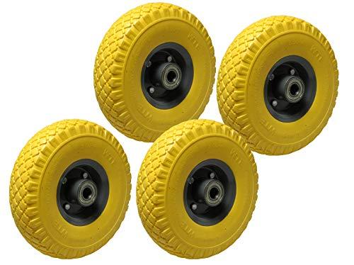 4 neumáticos de repuesto de espuma de poliuretano, 260 mm, color amarillo, 120 kg, para carretilla, rueda 3.00-4 sobre llanta de acero
