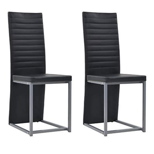 Festnight Esszimmerstühle 2 STK. | Kunstlederstuhl 2er Set | Modern Esszimmer Stuhl | Essstuhl | Küchenstuhl | Schwarz Kunstleder mit Stahlrahmen 38,5 x 52 x 100,5 cm