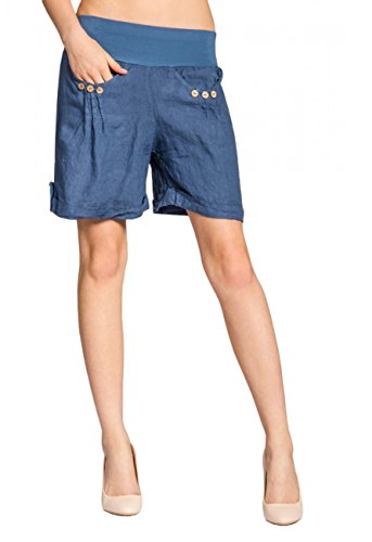 Caspar BST002 Damen Leinen Shorts, Farbe:Jeans blau, Größe:XXL - DE44 UK16 IT48 ES46 US14