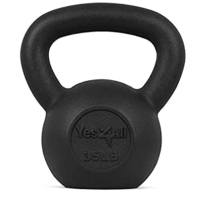 Yes4All Solid Cast Iron Kettlebell Weights Set - Great for Full Body Workout and Strength Training - Kettlebell 35 lbs (Black) (KJ24) from Yes4all