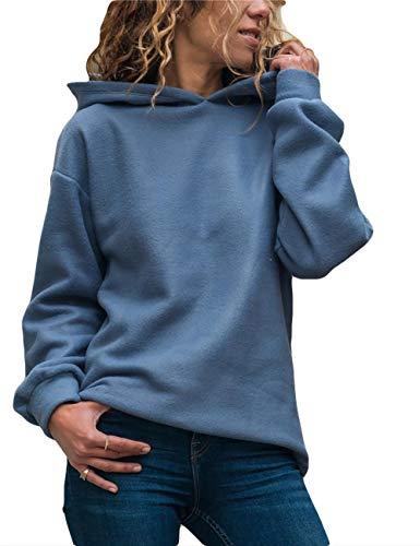 Yieune Kapuzenpullover Damen Sweatshirt Lose Casual Pullover Strickjacken Streetwear Pulli (Blau XL)