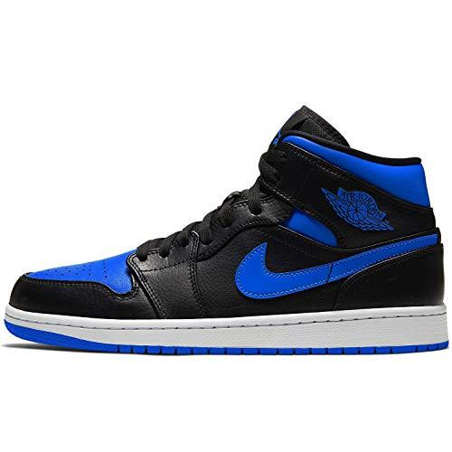 Nike Air Jordan 1 Mid, Scarpe da Basket Uomo, Black/Hyper Royal/White, 44 EU