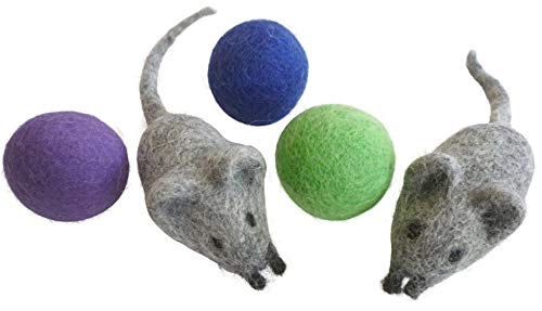 Earthtone Solutions Felt Wool Ball and Mouse Toys for Cats and Kittens, Adorable Colorful Soft Quiet Fabric Balls, Unique Handmade - for Cat Lovers, 2 Felt Mice 3 Felt Balls