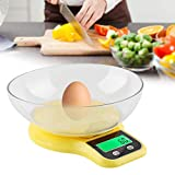 Rotekt Báscula para alimentos báscula de cocina báscula de bolsillo báscula digital 0,1 g / 5 kg, con bandeja, función Tara Display LCD Conversión 3 unidades (amarillo)