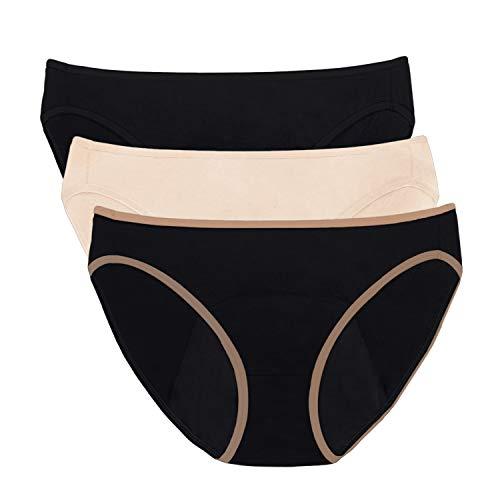 Intimate Portal Mujer Braguitas Menstruales Bikinis Protectoras para la Incontinencia Periodo Menstruación Negro Negro Beige (PK de 3) M