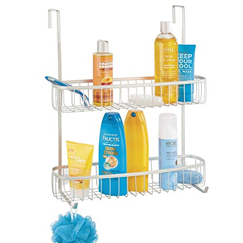 mDesign Estanterías de baño para colgar – Práctico colgador de ducha sin taladro – Estantes para baño de metal con dos anchas cestas metálicas y dos ganchos – plateado mate