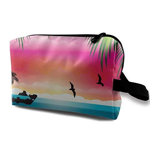 Travel Makeup Storage Bag- Portable Toiletry Handbag Small Cosmetic Organizer Pouch for Women & Men- Tropical Beach