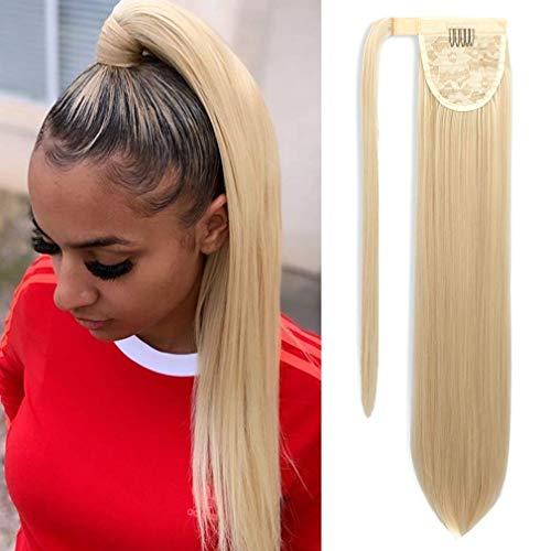 Ponytail Extension Lang Glatt Pferdeschwanz Afro Haarteil Extensions Haarverlängerunge Verlängerung Kunsthaar Blond Natürliches Ponytail fuer Zopf ca.70cm/613# VD049B