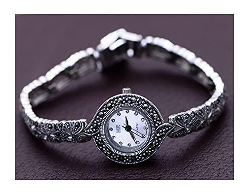 VIVIANSHOP Reloj de Plata esterlina para Mujer, 925 joyería de Plata esterlina Vintage chasis Blanca Pulsera Accesorios joyería de muñeca