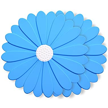 Silicone Trivet Mats, 8 Inch Flower Hot Pads, Pot Holders Non-Slip Silicone Insulation Mat For Home Use (Blue, Set of 2)
