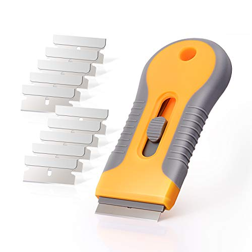 EHDIS Ceramic Scraper Car Sticker Remover Glass Cooktop Razor Scraper Label,Glue,Paint,Adhesive Remover Tool + 10pcs Stainless Steel Razor Blades
