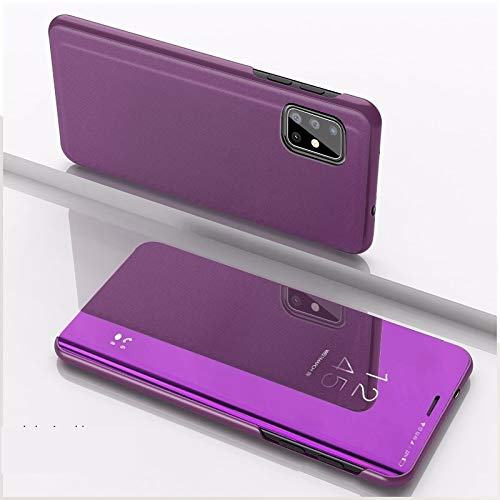 JIANGNIUS Phone Case for VIVO Y50/Y30 Plated Mirror Horizontal Flip Leather Case with Holder(Silver) (Color : Purple)