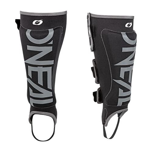 O'NEAL | Schienbeinprotektoren | BMX Mountainbike Downhill | Bequemes Neopren-Material, Plastikeinsatz-Schutz, drei verstellbare Klettbänder | Straight Shin Guard | Erwachsene | Schwarz Grau | Größe M