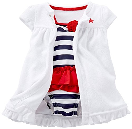 Carter's Baby Girls 2-piece Swimsuit & Cover up Set (3 Months, Red/White/Blue)