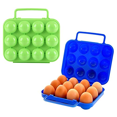 Guador Portable Porte Oeufs Boîte, 2 Pièces Portable Boîte à Oeufs en Plastique 12 Grilles Boîte de Rangement Conteneur Plateau D'oeuf Boîte à œufs Pliable pour Camping Plein Air(Bleu,Vert)