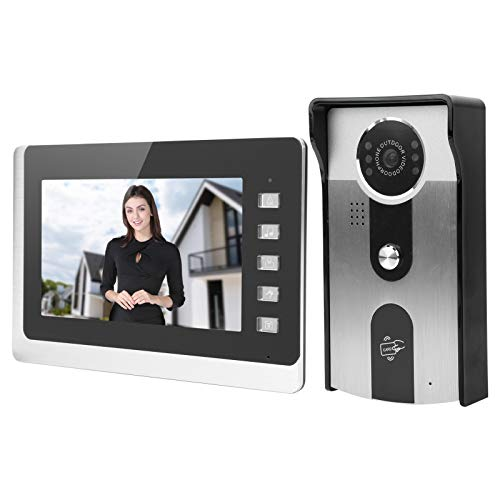 FILFEEL Timbre con Video LCD de 7 Pulgadas, Radio de 2 vías con Cable, visión Nocturna, Pantalla TFT, Tarjeta de identificación, Soporte a Prueba de Lluvia, videoportero, desbloqueo(EU)