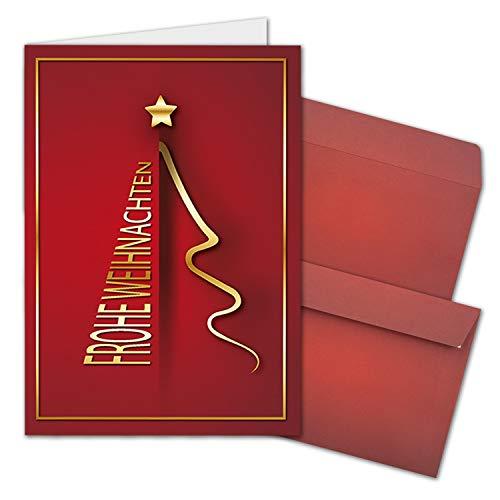 15x Weihnachtskarten-Set DIN A6 in Rot mit goldenem Weihnachtsbaum - Faltkarten mit passenden Umschlägen - Modern - Weihnachtsgrüße für Firmen und Privat