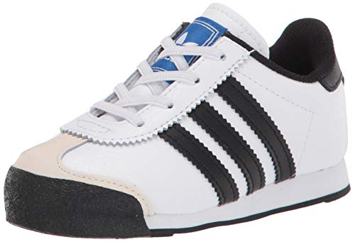 adidas Originals unisex child Samoa Sneaker, White/Black/Blue, 9.5 Toddler US
