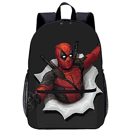 PAWANG Mochila escolar para niños Impresión 3D Deadpool Bolsa para computadora portátil liviana, adecuada para estudiantes, adolescentes, niños y niñas, viajes y campamentos