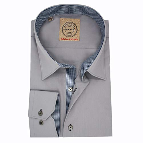 Shirt Man Fitted Gray Way col 1 Knop en Microfoon Navy Blue Plaid Voeringen - M, Gris