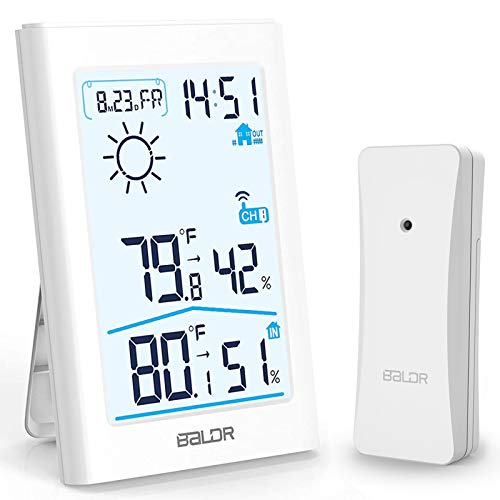 Slopehill Weather Station, Wireless Indoor Outdoor Thermometer Hygrometer with Remote Sensor, Digital Temperature and Humidity Monitor with Weather Forecast, Date/Time Display, Alarm Clock, Backlight