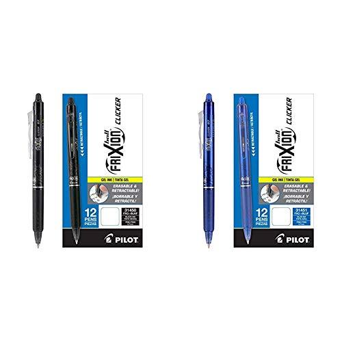 PILOT FriXion Clicker Erasable, Refillable & Retractable Gel Ink Pens, Fine Point, Blue Ink, 12-Pack & Black Ink, 12-Pack (24 Total Pens) (31450/31451)