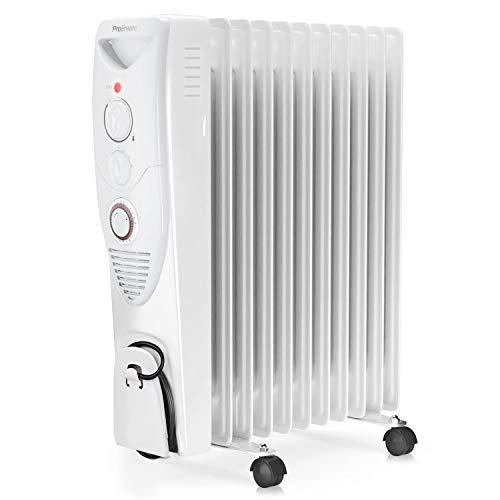 Pro Breeze® Radiatore ad Olio 2500W, 11 Elementi - Riscaldatore Elettrico Portatile - Timer Incorporato, 3 Livelli di Calore, Termostato e Spegnimento Automatico di Sicurezza