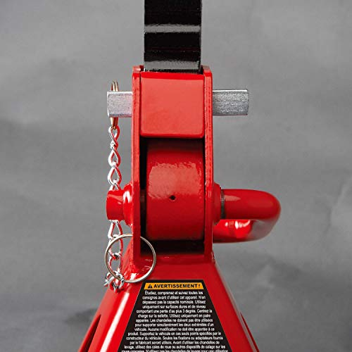 BIG RED T43002A Torin Steel Jack Stands: Double Locking, 3 Ton (6,000 lb) Capacity, Red, 1 Pair