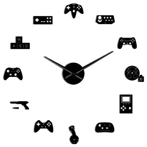Reloj de pared Controlador de juegos Video Diy Reloj de pared gigante Juego Joysticks Pegatinas Gamer Arte de la pared Video Gaming Signs Boy Dormitorio Juego Decoración de la habitación Negro Hermoso y duradero Fácil de usar