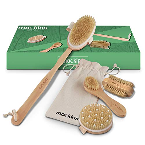 Mockins Natural Boar Bristle Body Brush Set with Detachable Cellulite Massage Brush and Long Wooden Handle for Dry Brushing Perfect Kit to Exfoliate and Get Rid of Cellulite