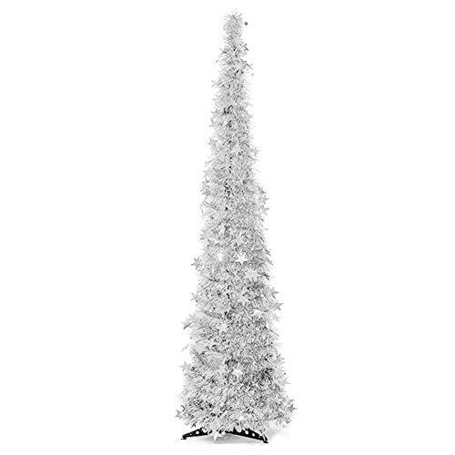 Langde Albero di Natale Artificiale 120 cm con Supporto, Alberi Natale Artificiali Pino, Stella Finto Decorato, Materiale PVC, Decorazioni Naturale per Christmas - Argento