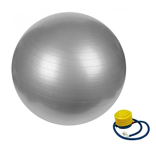 AFX Pelota de gimnasio anti explosiones, pelota suiza de alta resistencia con bomba, 75 cm, color plata, tamaño 65cm, 2.43, 29.53 x 29.53 x 29.53inches