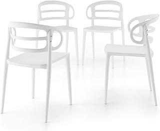 Mobili Fiver, Juego de 4 Sillas de Cocina Modernas Carlotta, Blanco, 51 x 49 x 78 cm, Made in Italy